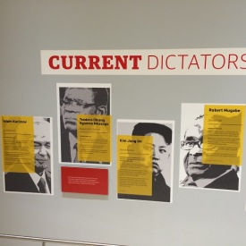Wall of current dictators in human rights exhibit