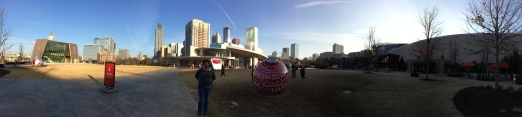 Panoramic view of Center, World of Coke, and Georgia Aquarium with DTATL in background