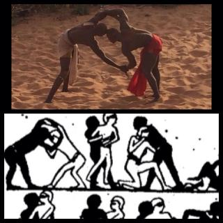 """At a nearby village, Refa1 witnessed an ancient African fighting Art of """"Lamb"""" (Wrestling), which he thought looked similar to an ancient Kemetic (Egyptian) fighting style as illustrated in the bottom."""