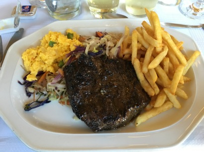 This was my meal at the Ostrich Ranch...hands down DELICIOUS! Ostrich tastes like steak and lamb made a baby. I had the 3 course filet meal with scrambled ostrich egg instead of potato.